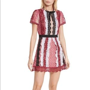 Self Portrait lace guipure trim mini dress pink 4